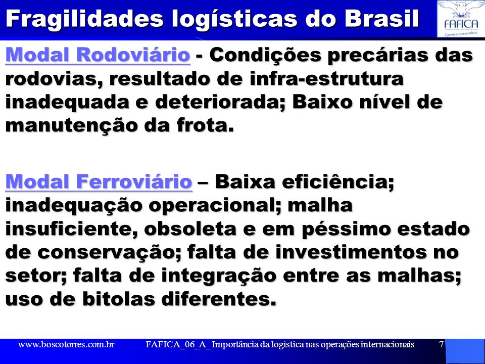 Fragilidades logísticas do Brasil