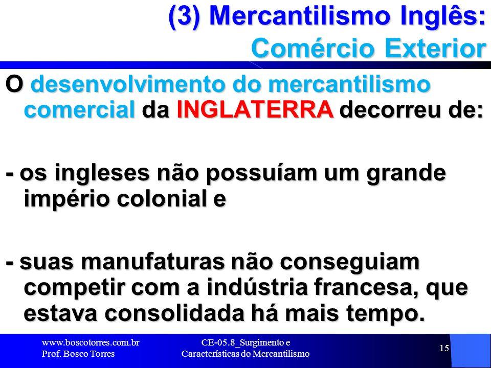 (3) Mercantilismo Inglês: Comércio Exterior