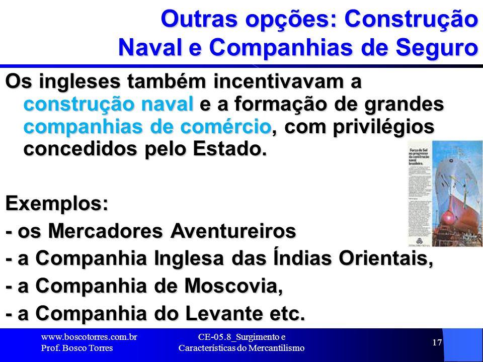Outras opções: Construção Naval e Companhias de Seguro