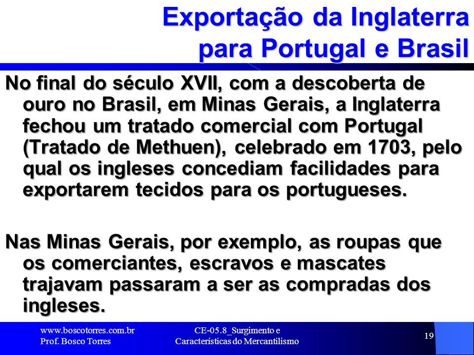 Exportação da Inglaterra para Portugal e Brasil