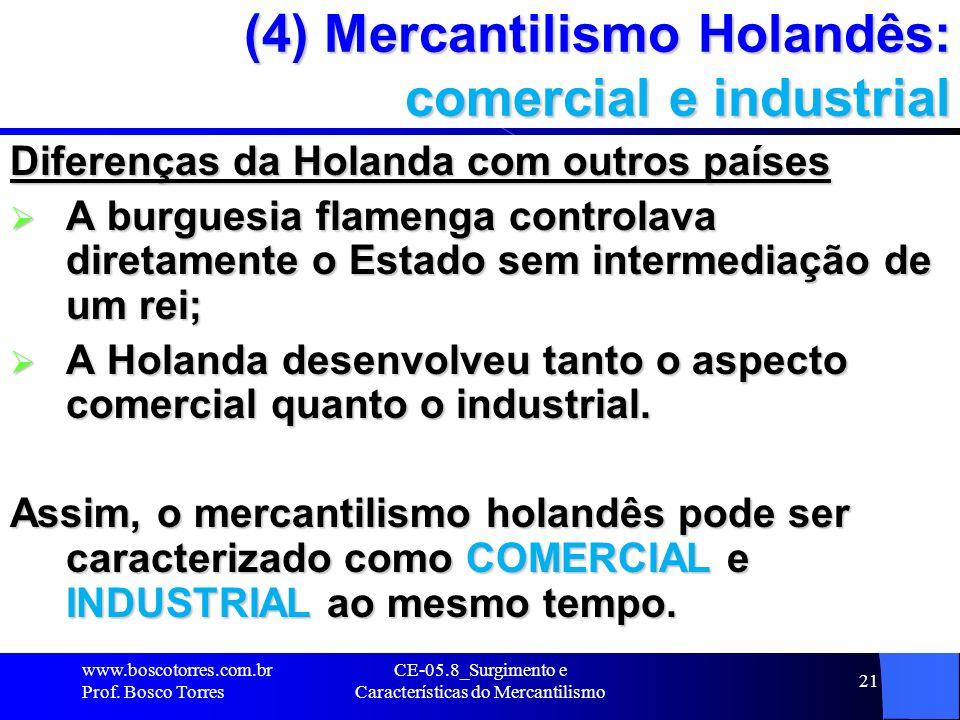 (4) Mercantilismo Holandês: comercial e industrial