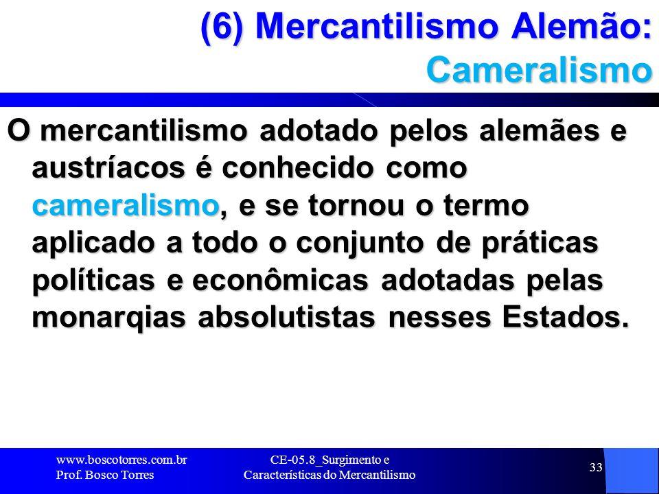 (6) Mercantilismo Alemão: Cameralismo