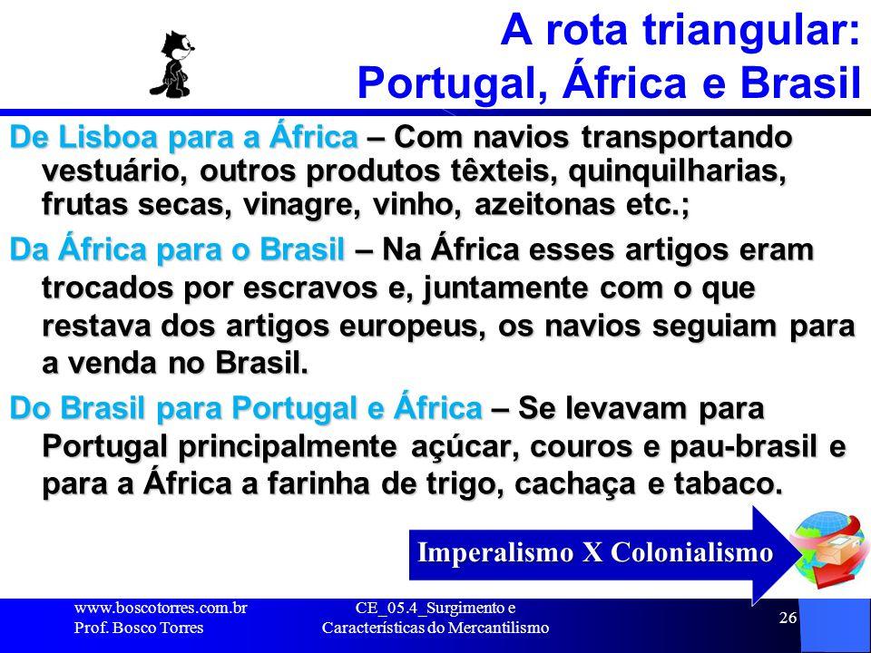 A rota triangular: Portugal, África e Brasil