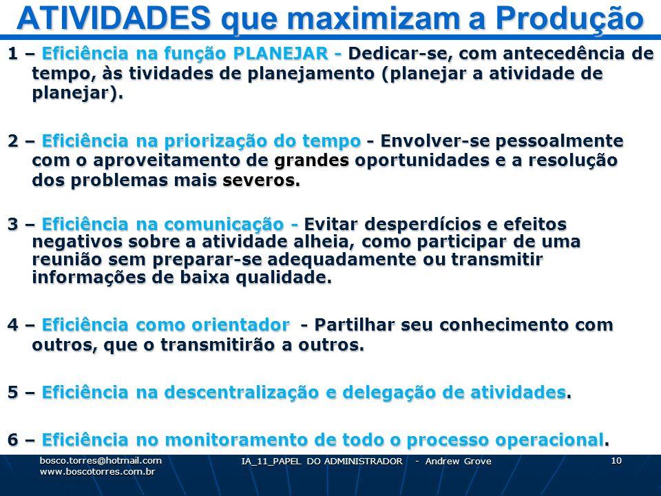 ATIVIDADES que maximizam a Produção