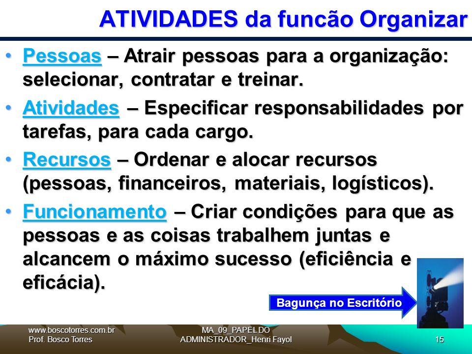 ATIVIDADES da funcão Organizar