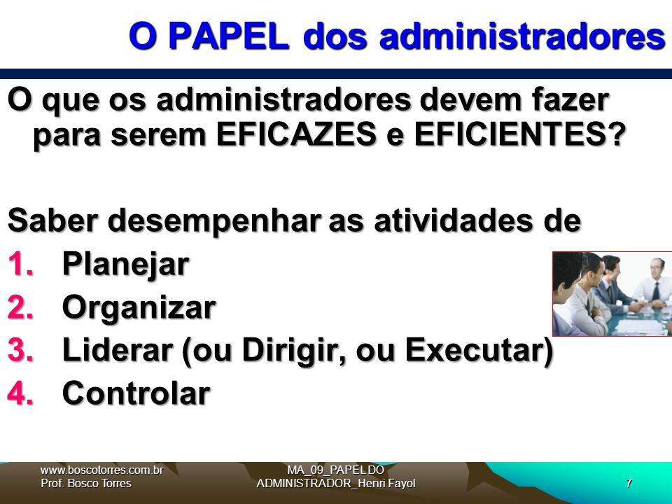 O PAPEL dos administradores