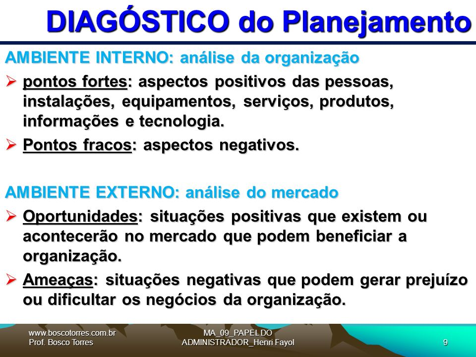 DIAGÓSTICO do Planejamento