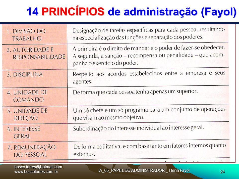14 PRINCÍPIOS de administração (Fayol)