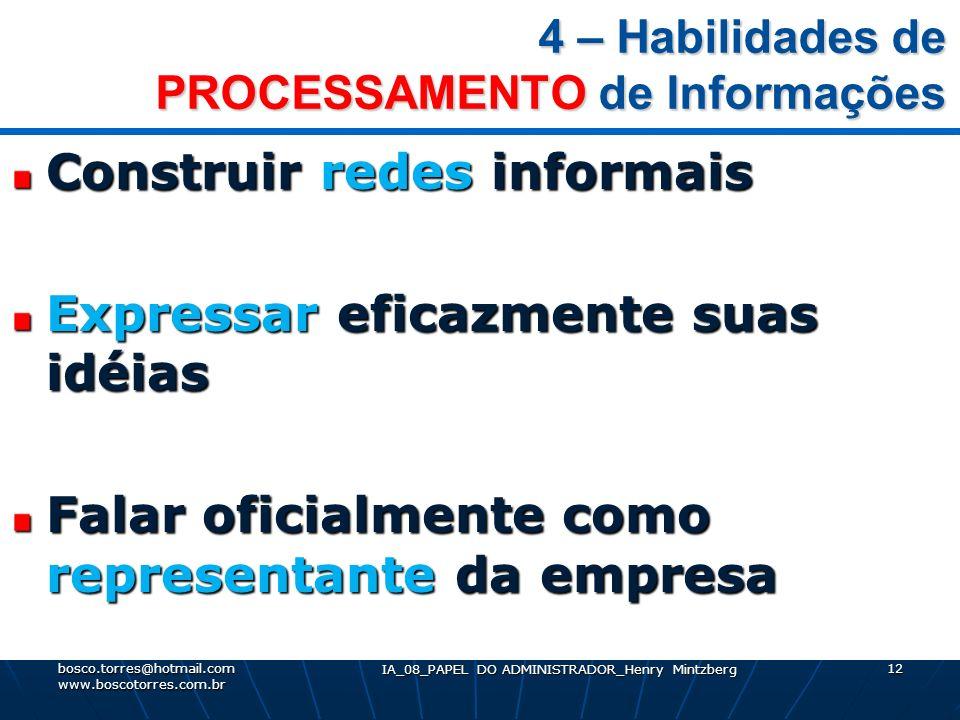 4 – Habilidades de PROCESSAMENTO de Informações