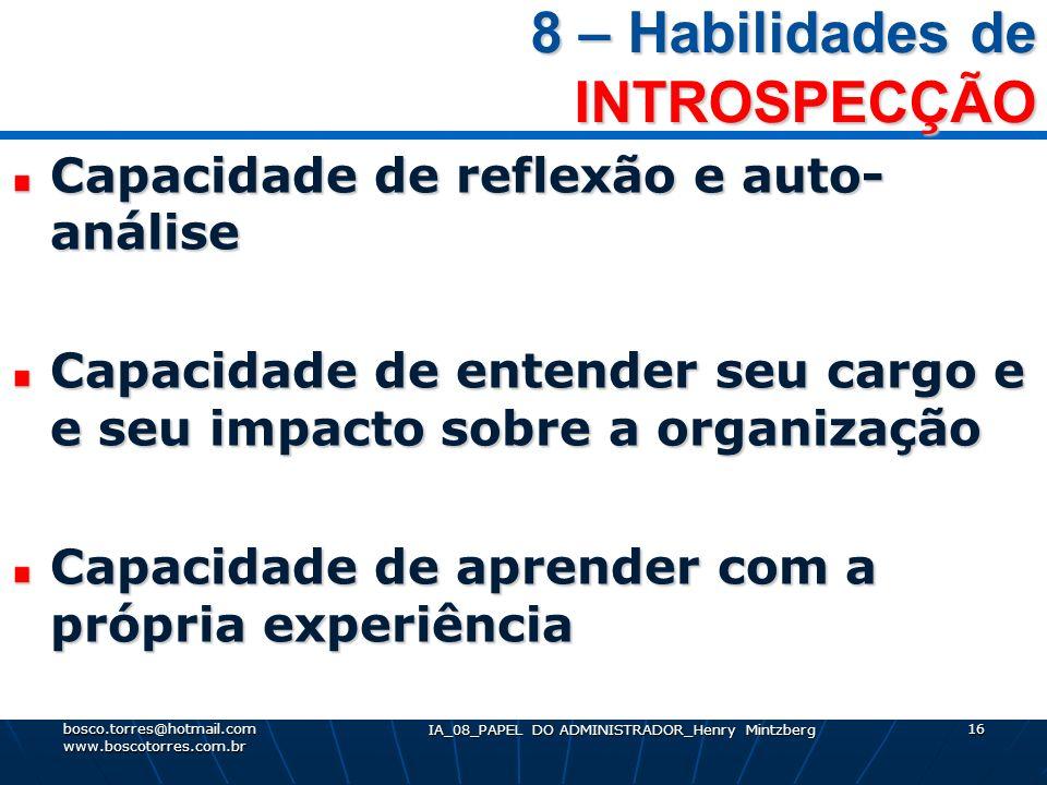 8 – Habilidades de INTROSPECÇÃO