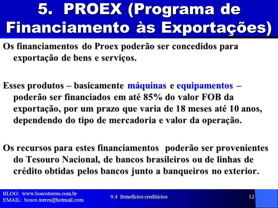 5. PROEX (Programa de Financiamento às Exportações)