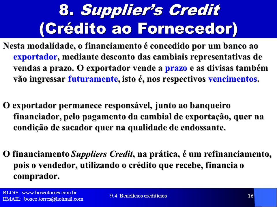 8. Supplier's Credit (Crédito ao Fornecedor)