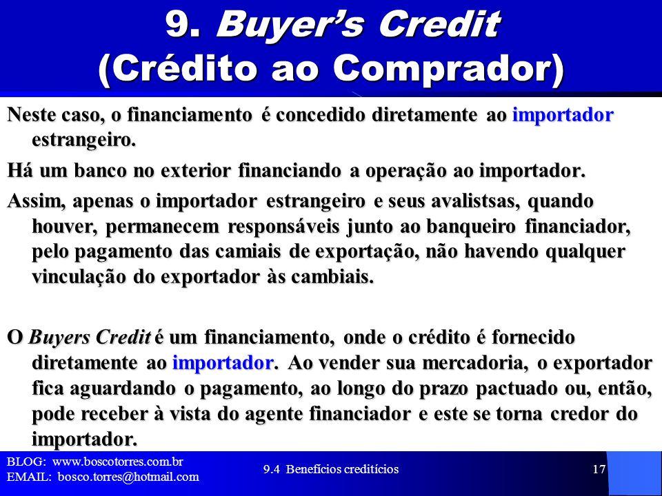 9. Buyer's Credit (Crédito ao Comprador)