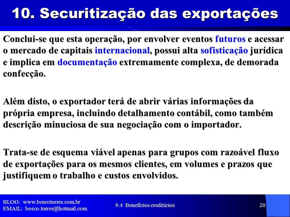 10. Securitização das exportações