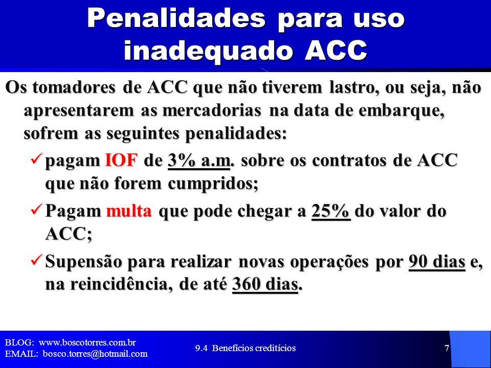 Penalidades para uso inadequado ACC