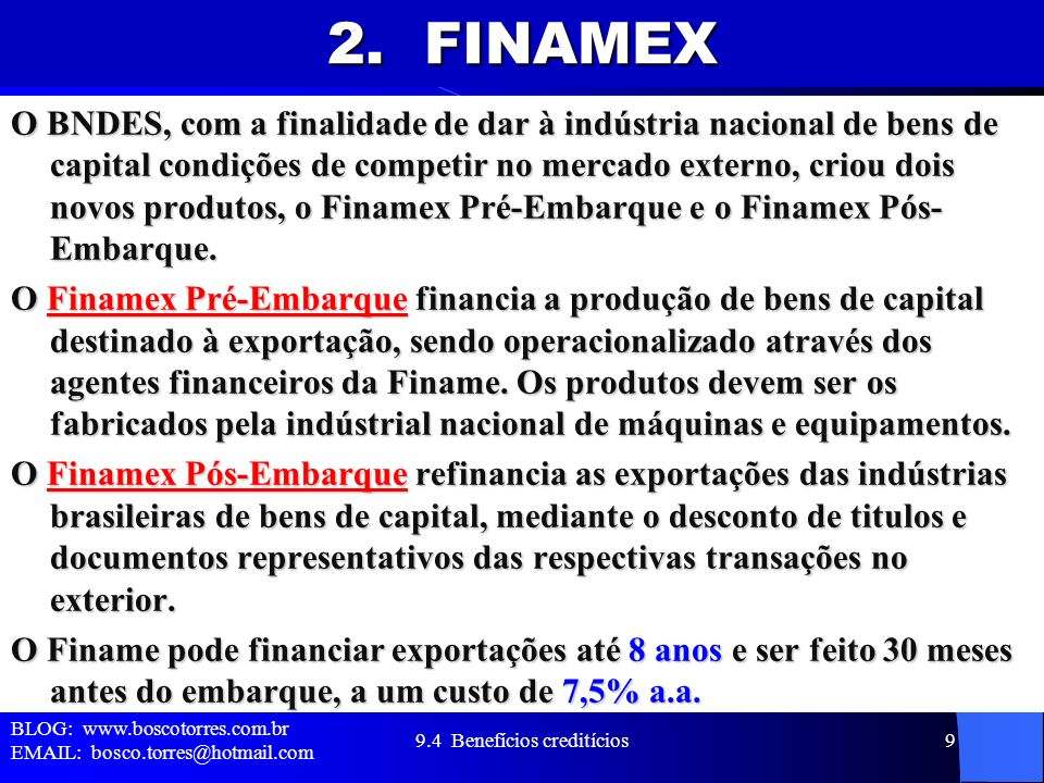 9.4 Benefícios creditícios