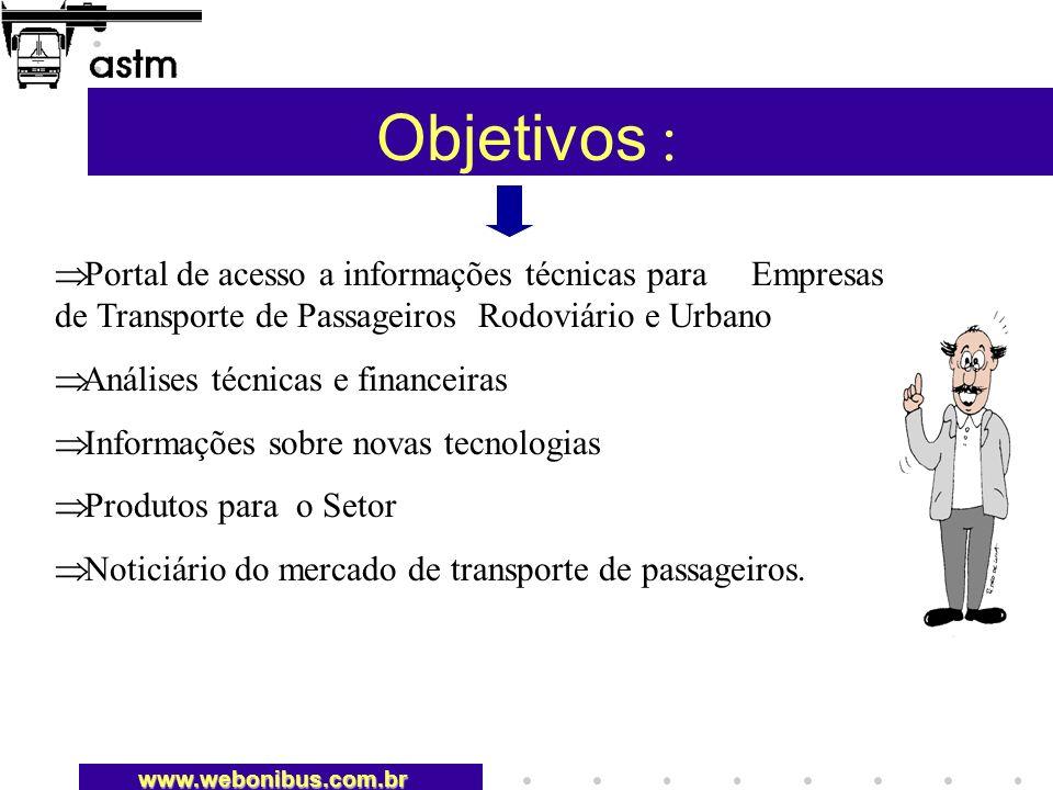 Objetivos :Portal de acesso a informações técnicas para Empresas de Transporte de Passageiros Rodoviário e Urbano.