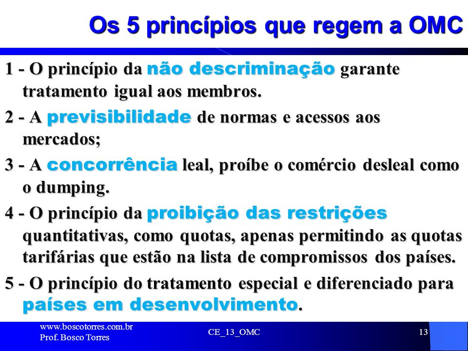 Os 5 princípios que regem a OMC