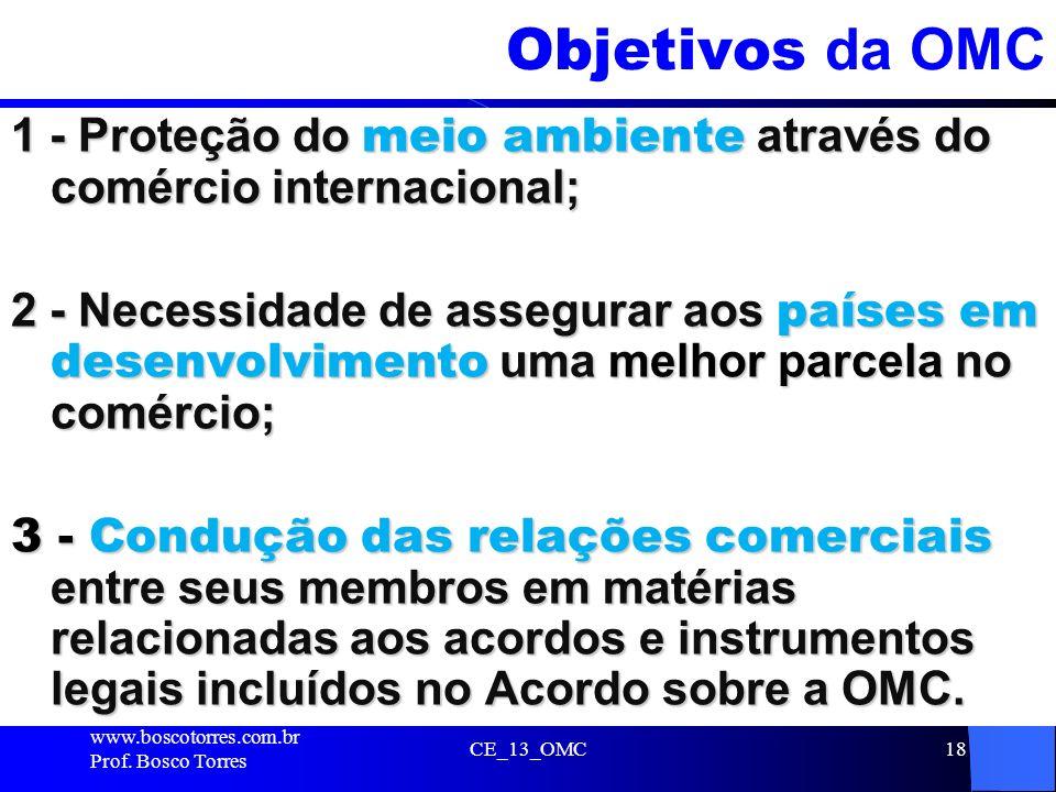 Objetivos da OMC 1 - Proteção do meio ambiente através do comércio internacional;