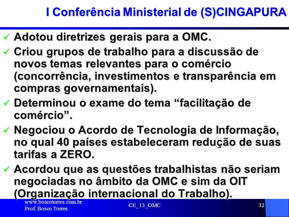 I Conferência Ministerial de (S)CINGAPURA