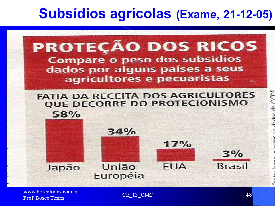 Subsídios agrícolas (Exame, 21-12-05)