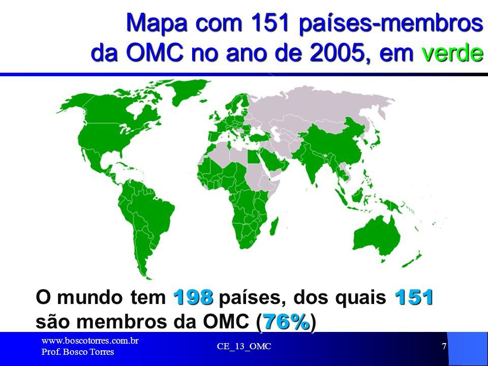 Mapa com 151 países-membros da OMC no ano de 2005, em verde