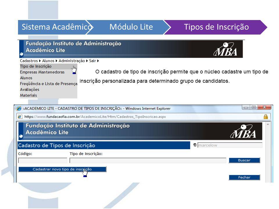 Sistema Acadêmico Módulo Lite Tipos de Inscrição
