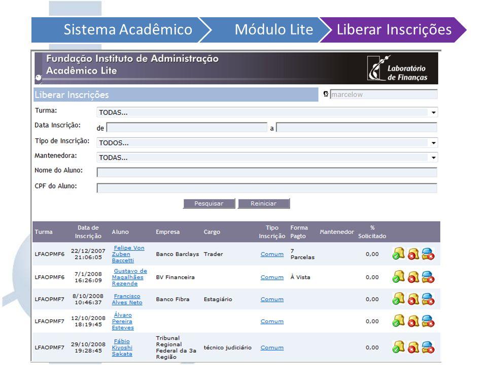Sistema Acadêmico Módulo Lite. Liberar Inscrições.