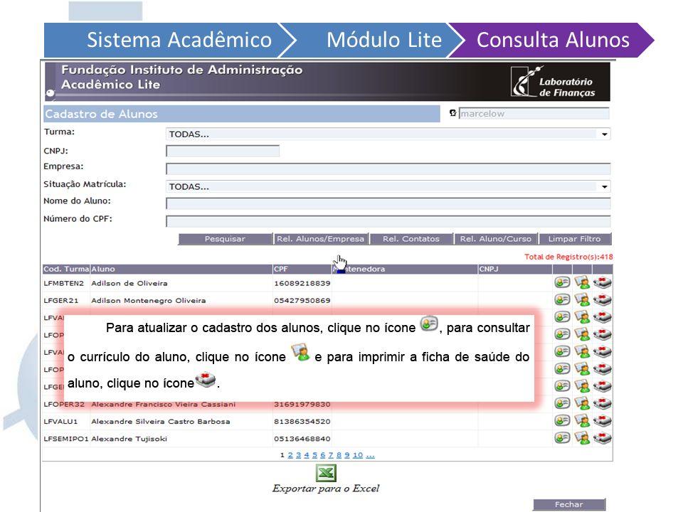 Sistema Acadêmico Módulo Lite. Consulta Alunos.