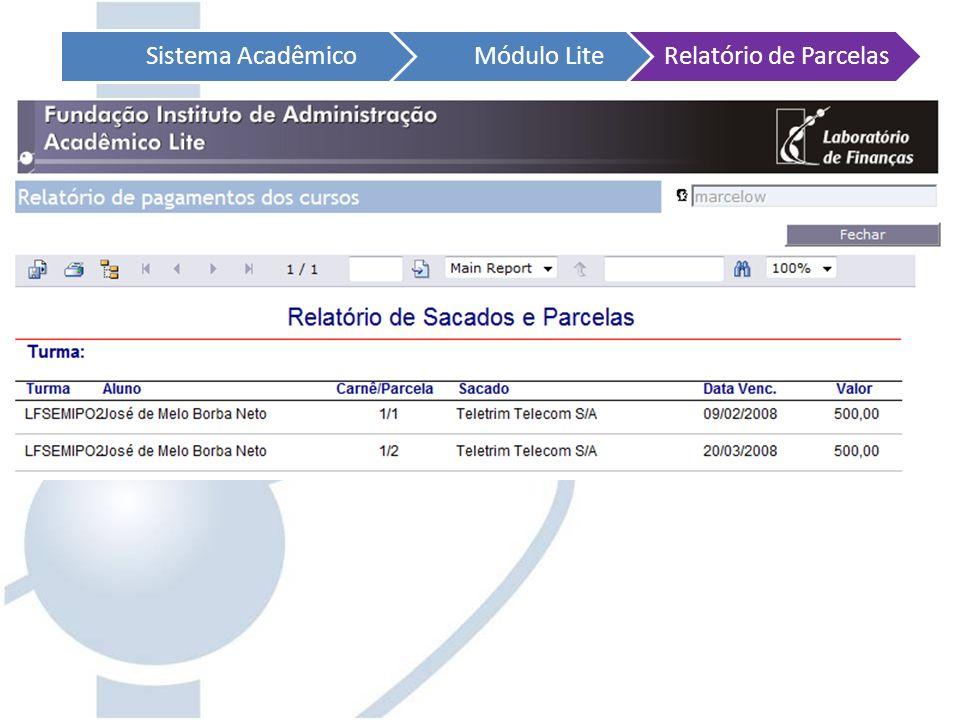 Sistema Acadêmico Módulo Lite. Relatório de Parcelas.