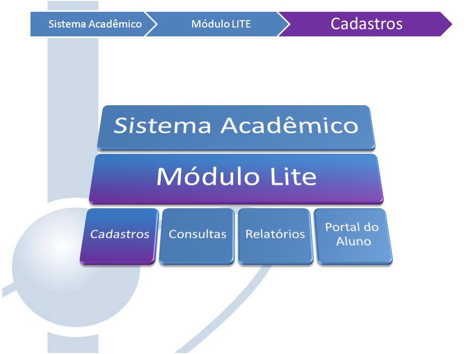 Cadastros Sistema Acadêmico Módulo LITE Sistema Acadêmico Módulo Lite