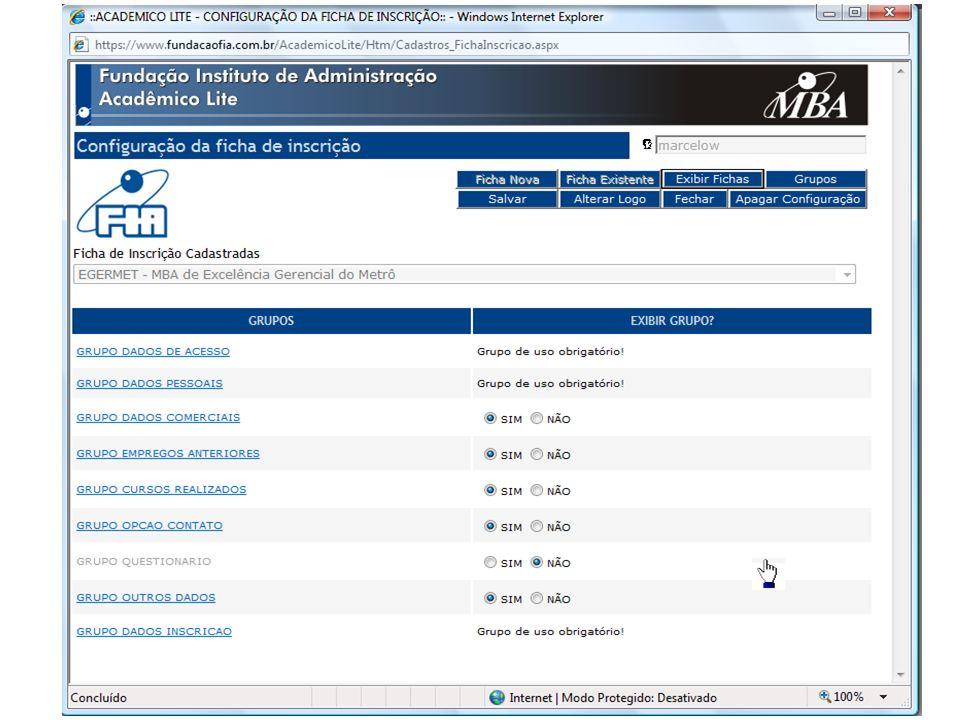 Sistema Acadêmico Módulo Lite Ficha de Inscrição