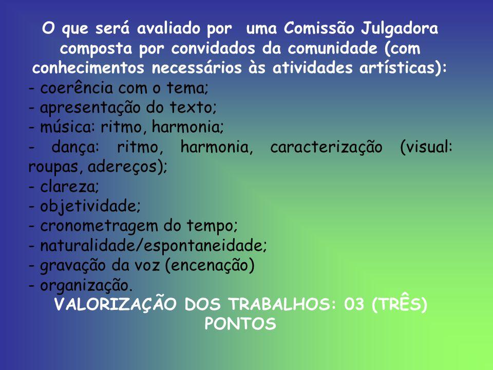 VALORIZAÇÃO DOS TRABALHOS: 03 (TRÊS) PONTOS