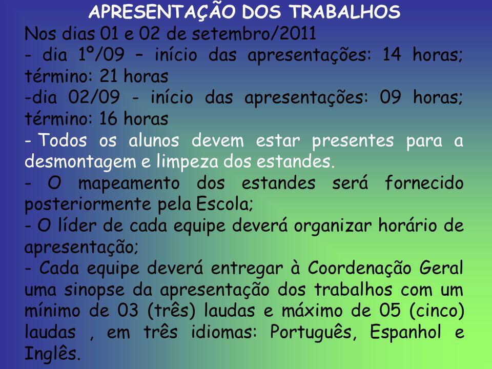 APRESENTAÇÃO DOS TRABALHOS
