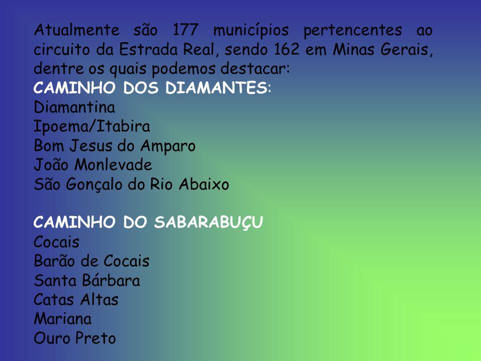 Atualmente são 177 municípios pertencentes ao circuito da Estrada Real, sendo 162 em Minas Gerais, dentre os quais podemos destacar: