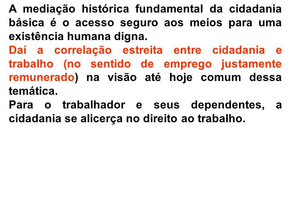 A mediação histórica fundamental da cidadania básica é o acesso seguro aos meios para uma existência humana digna.