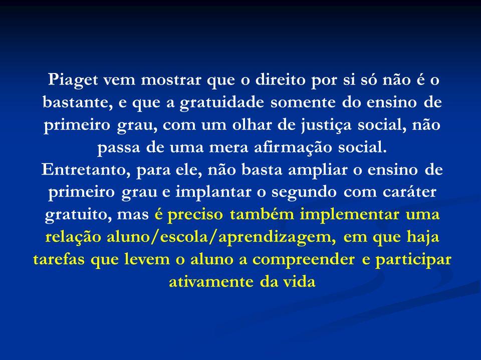 Piaget vem mostrar que o direito por si só não é o bastante, e que a gratuidade somente do ensino de primeiro grau, com um olhar de justiça social, não passa de uma mera afirmação social.