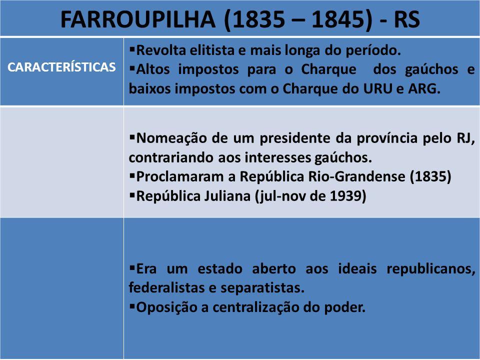 FARROUPILHA (1835 – 1845) - RSCARACTERÍSTICAS. Revolta elitista e mais longa do período.