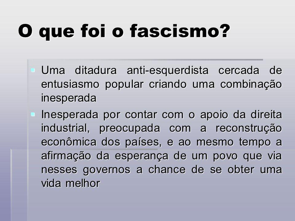 O que foi o fascismo Uma ditadura anti-esquerdista cercada de entusiasmo popular criando uma combinação inesperada.