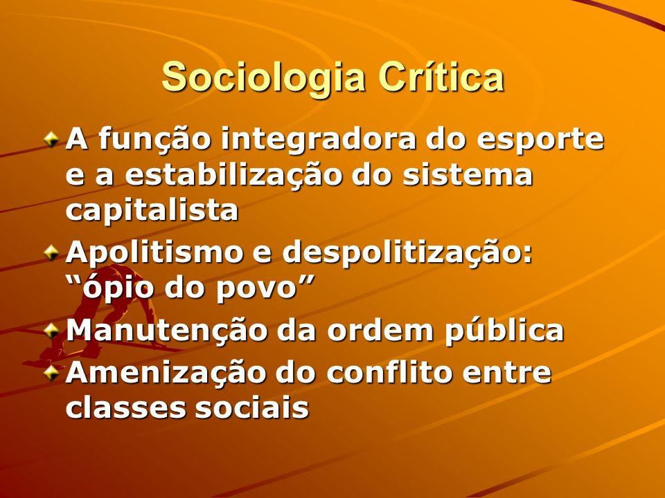 Sociologia Crítica A função integradora do esporte e a estabilização do sistema capitalista. Apolitismo e despolitização: ópio do povo