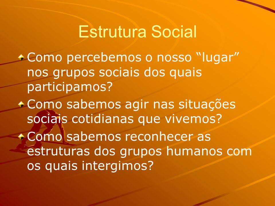 Estrutura Social Como percebemos o nosso lugar nos grupos sociais dos quais participamos