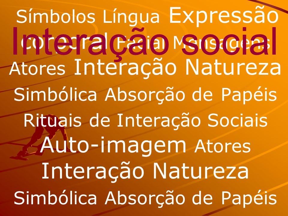 Símbolos Língua Expressão corporal Facial Mensagens Atores Interação Natureza Simbólica Absorção de Papéis Rituais de Interação Sociais Auto-imagem Atores Interação Natureza Simbólica Absorção de Papéis