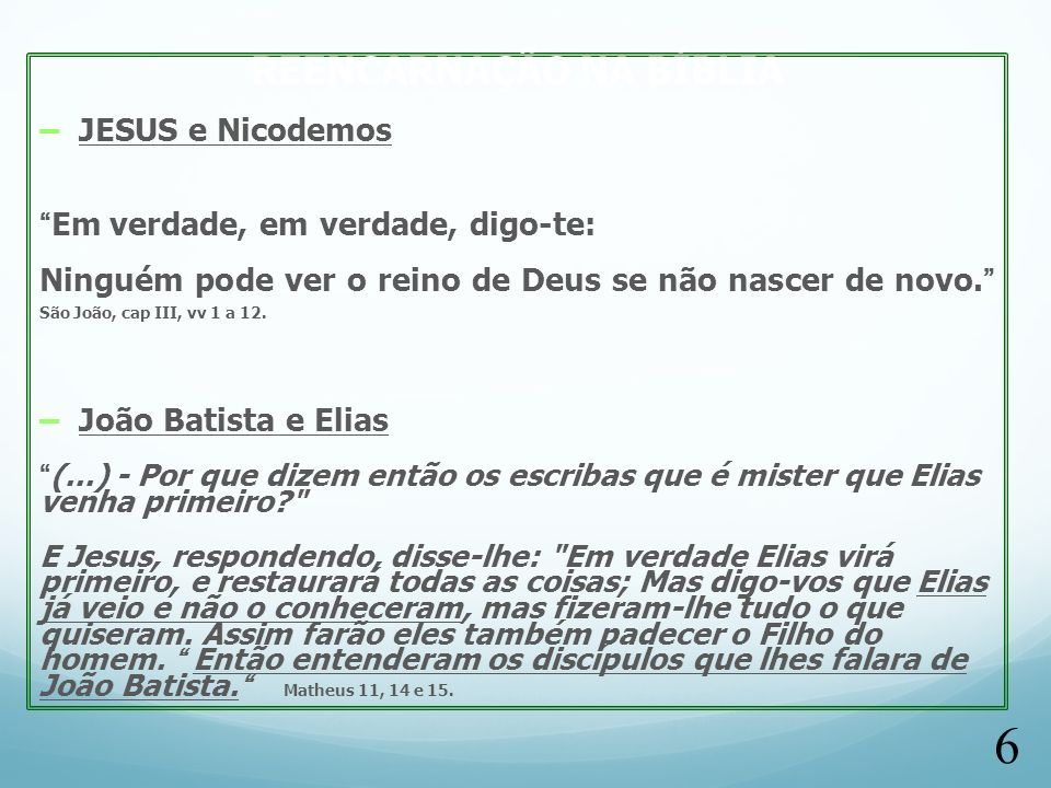 REENCARNAÇÃO NA BÍBLIA