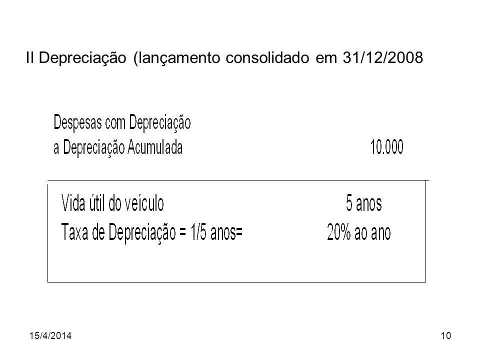 II Depreciação (lançamento consolidado em 31/12/2008