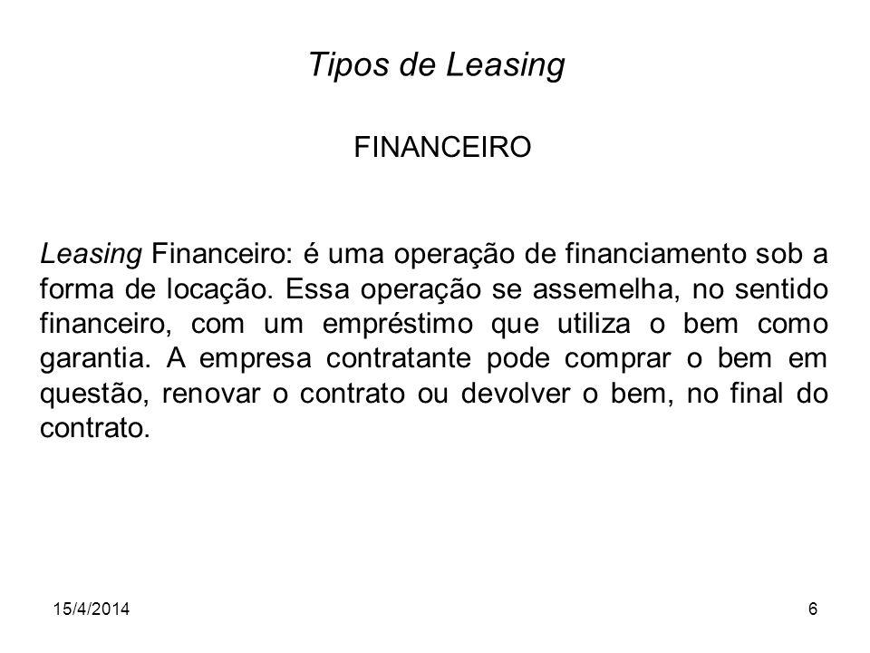 Tipos de Leasing FINANCEIRO