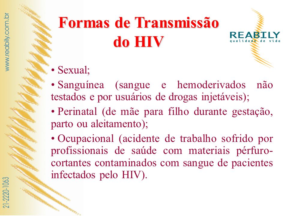 Formas de Transmissão do HIV