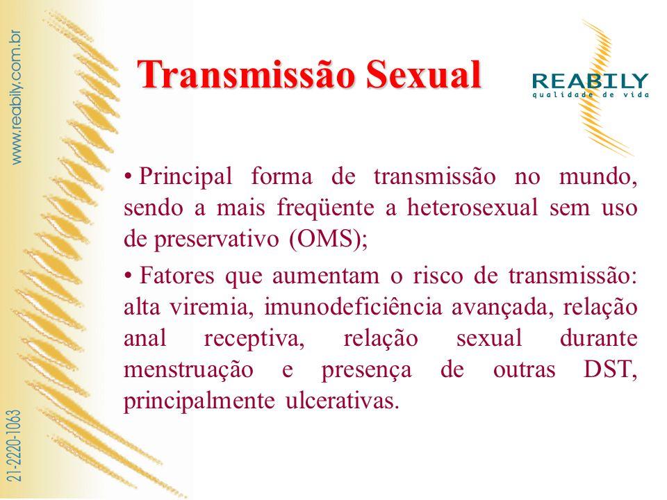 Transmissão Sexual Principal forma de transmissão no mundo, sendo a mais freqüente a heterosexual sem uso de preservativo (OMS);