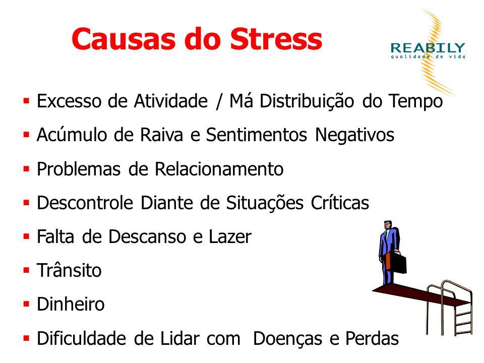 Causas do Stress Excesso de Atividade / Má Distribuição do Tempo