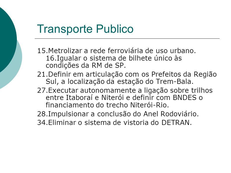 Transporte Publico 15.Metrolizar a rede ferroviária de uso urbano. 16.Igualar o sistema de bilhete único às condições da RM de SP.