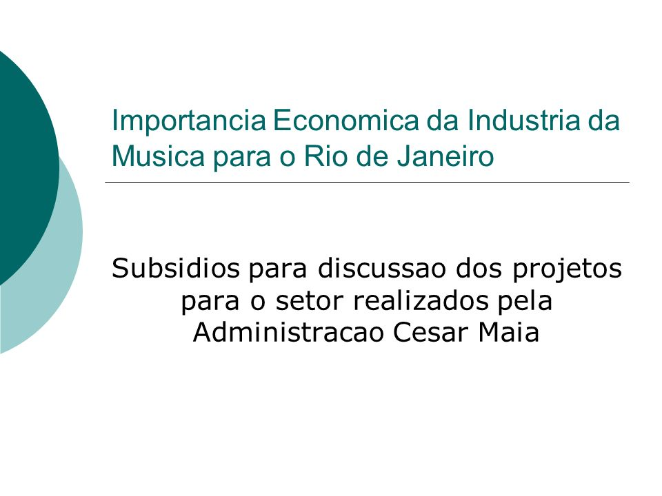 Importancia Economica da Industria da Musica para o Rio de Janeiro